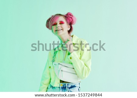 woman young model isolated background in bright clothes