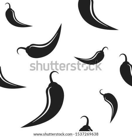 Black hot Chili pepper or cayenne,  or jalapeno pattern. vegetable ornament on white background. spice, Mexican food, savoury extra tabasco print. Vector print #1537269638
