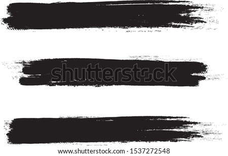 Black brush stroke set isolated on white background. Trendy brush stroke for black ink paint,grunge backdrop, dirt banner,watercolor design and dirty texture.Creative art concept, vector illustration #1537272548