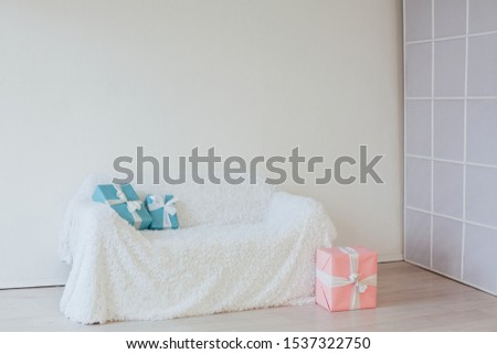 white sofa with Christmas new year birthday gifts #1537322750