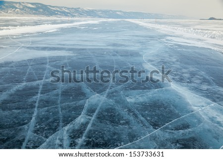 outdoor view of frozen baikal lake in winter  Royalty-Free Stock Photo #153733631