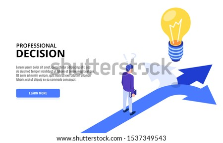 Choice process. Direction choose options, solution, decision. Man thinking. Web banner. Isometric vector illustration. Royalty-Free Stock Photo #1537349543