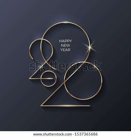 Golden 2020 New Year logo. Holiday greeting card. Vector illustration. Holiday design for greeting card, invitation, calendar, etc. #1537365686