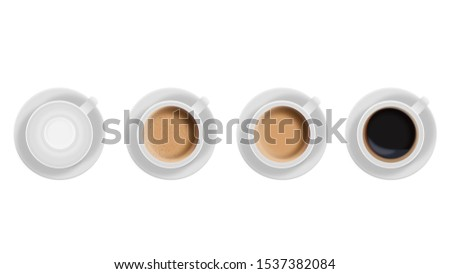 Realistic White Cups With Coffee. Top View. #1537382084