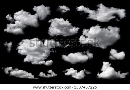 Clouds set isolated on black background. White cloudiness, mist or smog background.  #1537457225