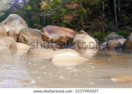 rocks and forest mountain river . the sun shines on a mountain stream in a national Park #1537495037