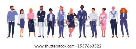 Business multinational team. Vector illustration of diverse cartoon men and women of various races, ages and body type in office outfits. Isolated on white. Royalty-Free Stock Photo #1537663322