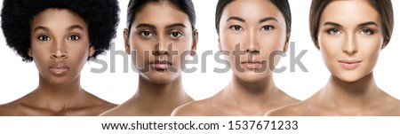 Multi-ethnic beauty. Different ethnicity women - Caucasian, African, Asian and Indian. Royalty-Free Stock Photo #1537671233