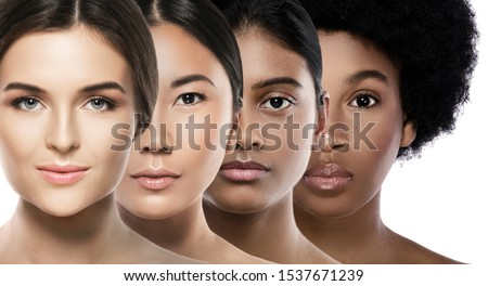 Multi-ethnic beauty. Different ethnicity women - Caucasian, African, Asian and Indian. Royalty-Free Stock Photo #1537671239