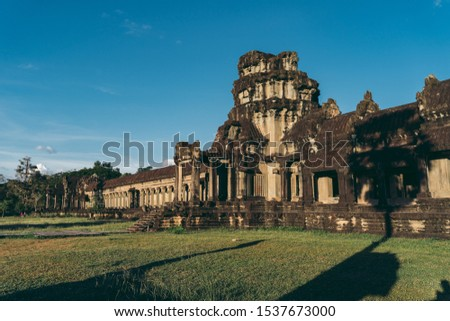 Sunset at Ancient Temple of Angkor Wat in Cambodia #1537673000