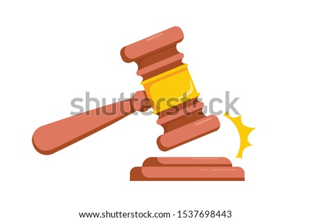 Judge hammer icon law gavel. Auction court hammer bid authority concept symbol. Wooden judge ceremonial hammer of the chairman with a curly handle. Vector illustration isolated on white.