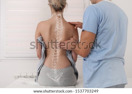 Scoliosis Spine Curve Anatomy, Posture Correction. Chiropractic treatment, Back pain relief. Royalty-Free Stock Photo #1537703249