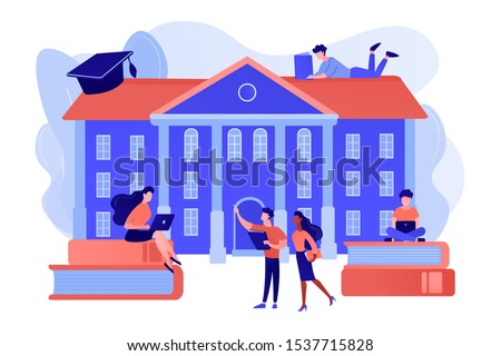 Students interacting with each other, making friends at university. College campus tours, university campus events, on-campus learning concept. Pinkish coral bluevector isolated illustration Royalty-Free Stock Photo #1537715828