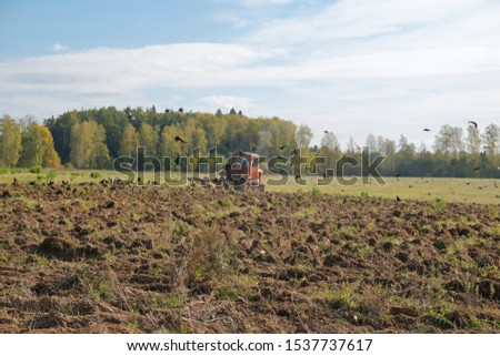 A tracked tractor with a plough plows the ground in autumn against the background of the forest. #1537737617