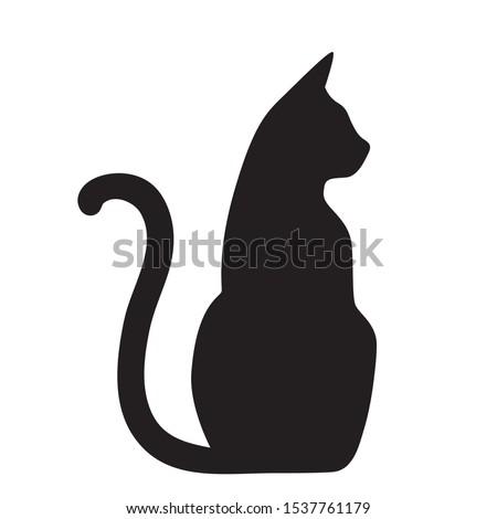 Vector isolated cat silhouette, logo, print, decorative sticker Royalty-Free Stock Photo #1537761179