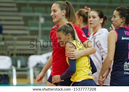ODESSA, SOUTH, UKRAINE - October 15, 2019: Women's European Volleyball Championship. Female KHIMIK YUZHNY - MLADOST ZAGREB Croatia. CEV Champions League Volley 2020. Women's Intense Volleyball Game #1537777208