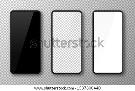 Realistic smartphone mockup set. Mobile phone blank, white, transparent screen design. Modern digital device template. Cellphone display front view mock up. Black frame. Isolated vector illustration