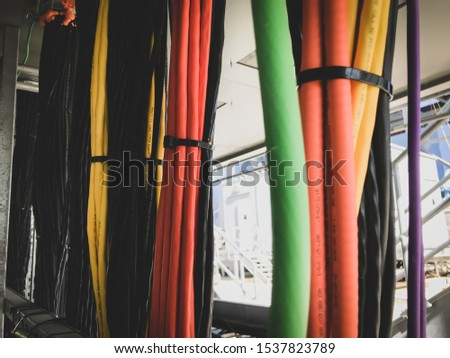 Power cables and instrument cables. pulling cables. #1537823789