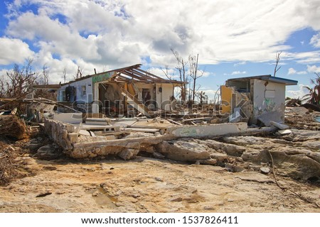 Freeport, Grand Bahama Island, Bahamas - October 11 2019 : Eastern part of the Grand Bahama Island where most of the devastation occurred from Hurricane Dorian. View of destroyed homes.