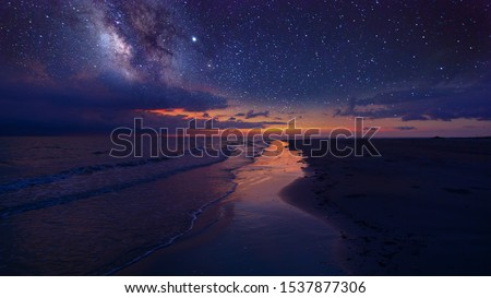 Milky Way Galaxy rising in Sabah North Borneo Asia. Image contain Noise and Grain due to High ISO. Image also contain soft focus and blur due to Long Exposure and Wide Aperture. #1537877306