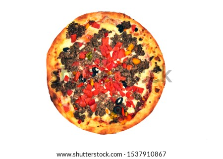 Photo of pizza, directly above, lying on the table, pizza with minced meat, sauce, cheese, ground beef, tomatoes, bell pepper, olives isolated on white background #1537910867