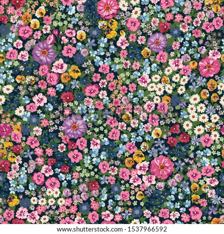 Blooming midsummer meadow seamless pattern. Plant background for fashion, wallpapers, print. A lot of different flowers on the field. Liberty style millefleurs. Trendy floral design #1537966592