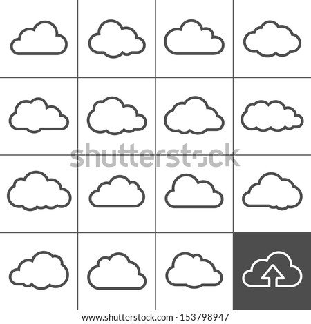 Cloud shapes collection. Cloud icons for cloud computing web and app. Simplus series Royalty-Free Stock Photo #153798947