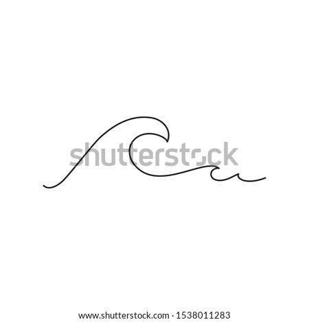 Sea wave one line drawing art. Abstract wave continuous line