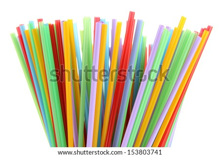 Many straws close-up isolated on white  #153803741