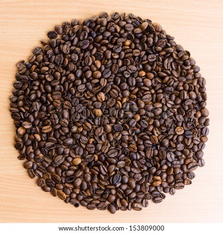Background of coffee beans in the shape of circle. #153809000