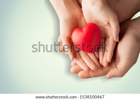 An adult, mother and child hold a red heart in their hands. Concept for charity, health insurance, love, international cardiology day. #1538100467