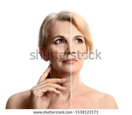 Comparison portrait of middle-aged woman on white background. Process of aging #1538123171