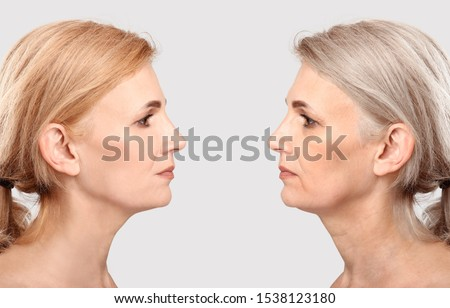 Comparison portrait of middle-aged woman on light background. Process of aging #1538123180