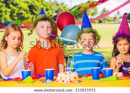 Group of adorable kids at birthday party #153815951