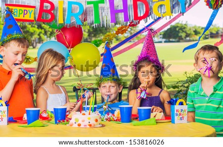 Group of adorable kids at birthday party #153816026