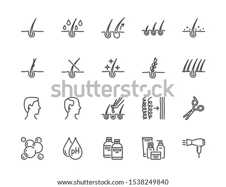 Hair loss treatment flat line icons set. Shampoo ph, dandruff, hair growth, keratin, conditioner bottle vector illustrations. Outline signs for beauty store. Pixel perfect. Editable Strokes. #1538249840