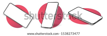 Smartphone frame less blank screen, rotated position. Smartphone from different angles. Mockup generic device. UI/UX smartphones set. Template for infographics or presentation 3D realistic phones.  Royalty-Free Stock Photo #1538273477