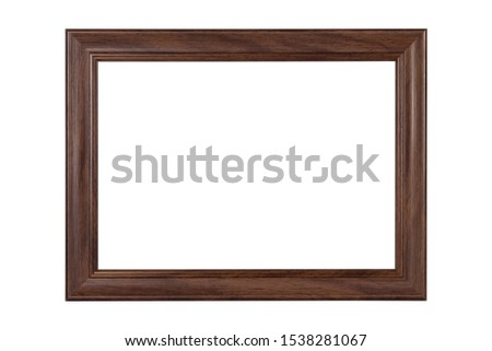 Dark brown wooden picture frame isolated on white background.