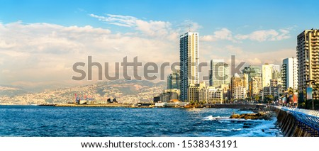 The Corniche seaside promenade in Beirut, the capital of Lebanon Royalty-Free Stock Photo #1538343191