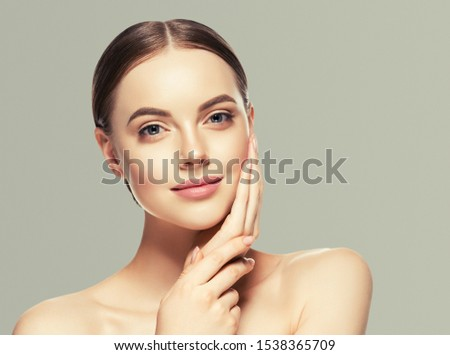 Beauty woman healthyskin care close up face macro beautiful girl model #1538365709