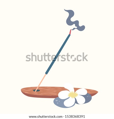 Scented Spa stick on a wooden stand. Incense stick. Cosmetic procedure aromatherapy. Vector #1538368391