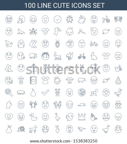 cute icons. Trendy 100 cute icons. Contain icons such as shy emoji, goose, showing tongue emot, dinosaur, rabbit, emoji in mask, dog, baby toy, pear. cute icon for web and mobile. #1538383250