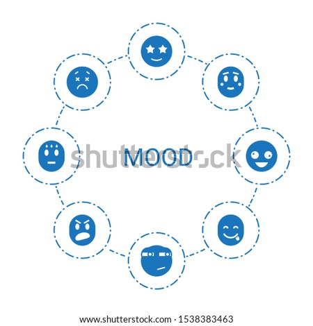 mood icons. Trendy 8 mood icons. Contain icons such as happe emoji with star eyes, rolling eyes emoji, shy emoji, upset emot, emot showing tongue. mood icon for web and mobile. #1538383463