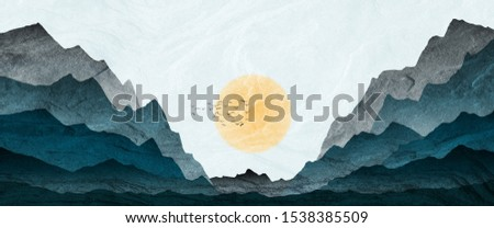 Mountain landscape illustration, with setting sun, fir trees, and mist in valley. Processed in graduated blue tones.
