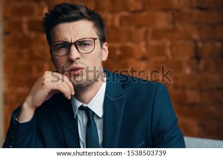Business man desktop laptop finance manager official #1538503739
