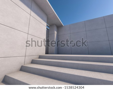 Granite stairs and a concrete wall. 3D rendering #1538524304