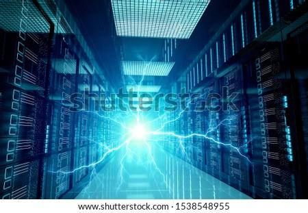Electricity lightning in dark servers data center room storage systems 3D rendering #1538548955