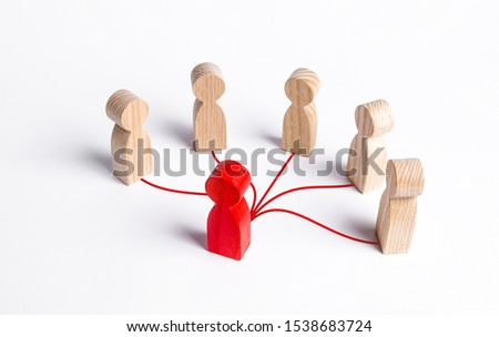 The red human figure is connected by lines with five persons. Business management. Spreading rumors. Leadership, teamwork. Cooperation and collaboration. Shares experiences and information. #1538683724