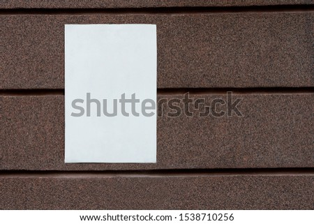 white blank signboard blank for your text on mosaic marble plaster wall. copy space #1538710256