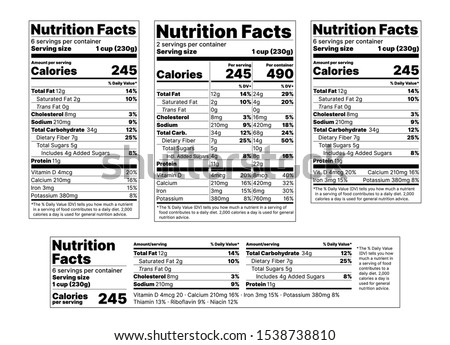 Nutrition facts Label. Vector. Food information with daily value. Package template. Data table ingredients calorie, fat sugar cholesterol. Flat illustration isolated on white background. Layout design Royalty-Free Stock Photo #1538738810